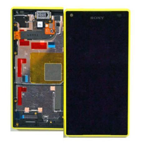 PANTALLA LCD DISPLAY + TACTIL CON MARCO AMARILLO ORIGINAL PARA SONY Z5 COMPACT E5823, E5803 - RECUPERADA