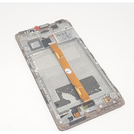 PANTALLA LCD DISPLAY + TACTIL CON MARCO ORIGINAL PARA HUAWEI MATE 8  ORO  - RECUPERADA