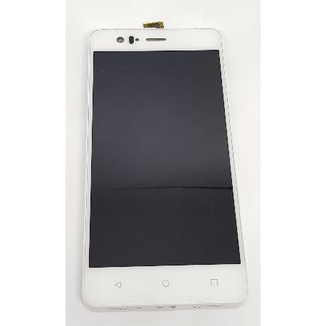 REPUESTO PANTALLA LCD + TACTIL CON MARCO ORIGINAL BQ AQUARIS M5 BLANCA - RECUPERADA CON TARA