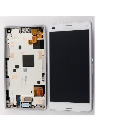 Pantalla LCD Display + Tactil con Marco Original Sony Xperia Z3 Compact Mini D5803, D5833 - Blanca
