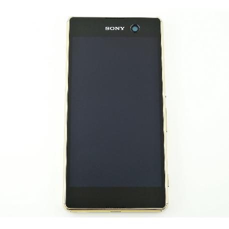 PANTALLA LCD DISPLAY + TACTIL CON MARCO ORIGINAL PARA SONY XPERIA M5 - ORO
