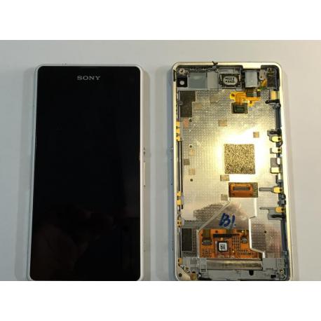 Pantalla lcd + tactil completa con marco Sony Xperia Z1c Compact Z1C M51W D5503 Blanca de desmontaje