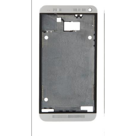 CARCASA FRONTAL ORIGINAL PARA HTC ONE M7 - PLATA