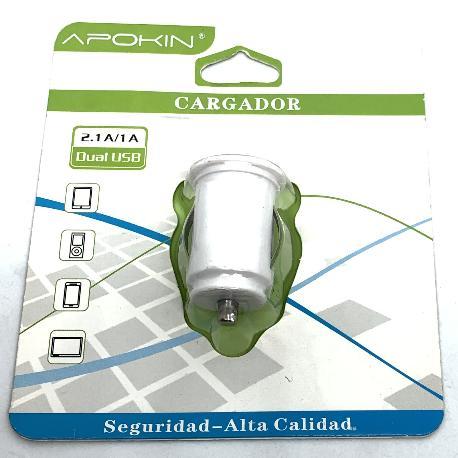 CARGADOR DE DOBLE ENTRADA DE COCHE PARA TABLET, MOVIL - 2.1A / 1A