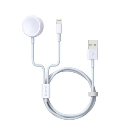 CABLE 2 EN 1 CON CABLE DE 8 PINES Y CARGADOR DE INDUCCION PARA APPLE WATCH Y IPHONE
