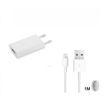 CARGADOR DE RED USB + CABLE PARA IPHONE LIGHTNING 8-PIN - BLANCO