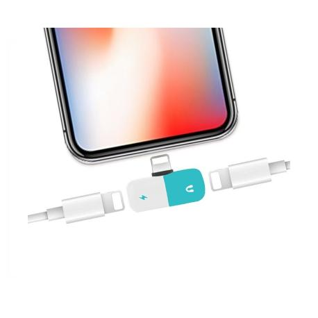 ADAPTADOR DOBLE LIGHTNING, CARGA Y AURICULARES PARA IPHONE