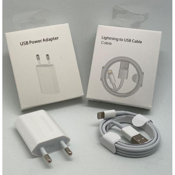 CABLE DE CONECTOR LIGHTNING A USB  Y ADAPTADOR DE CORRIENTE USB DE 5W - (BLISTER)
