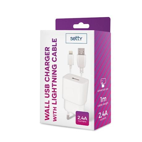 CARGADOR IPHONE DE RED USB + CABLE LIGHTNING 2,4A  - BLANCO BLISTER