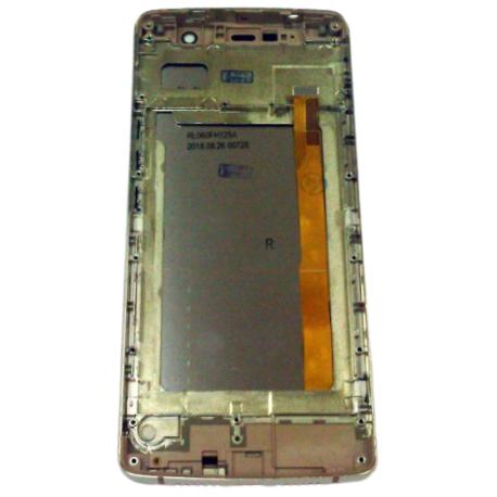 PANTALLA LCD Y TACTIL CON MARCO DORADO PARA LEAGOO POWER 5 - NEGRA