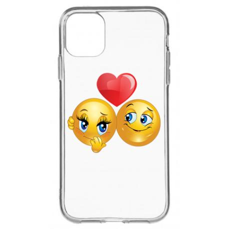 FUNDA TRANSPARENTE CON EMOJI LOVE PARA IPHONE 11