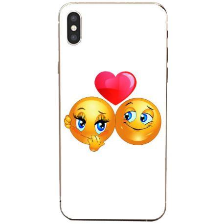 FUNDA TRANSPARENTE TPU PARA IPHONE XS MAX - EMOJI LOVE