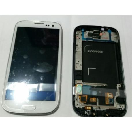 PANTALLA LCD + TACTIL CON MARCO GALAXY S3 NEO I9300I I9301 9308I 9300I I9301I BLANCA - SERVICE PACK