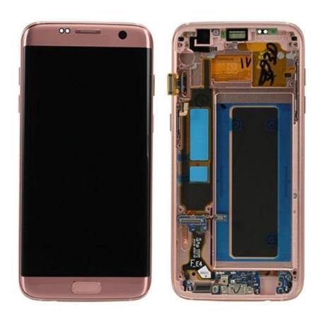 PANTALLA LCD DISPLAY + TACTIL CON MARCOPARAGALAXY S7 EDGE SM-G935F - ROSA