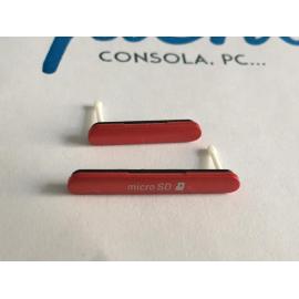 Juego de Tapas Micro SD y Micro USB para Sony Xperia M4 Aqua E2303 - Rojo / Recuperadas