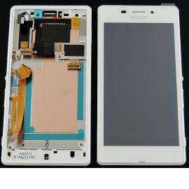 Repuesto Pantalla LCD + Tactil con Marco Original para Sony Xperia M2 Aqua D2403 D2406 - Blanca