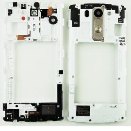 Carcasa Intermedia con Lente + Boton de Encendido + Altavoz Buzzer Speaker para LG G3 Mini D722 - Blanco