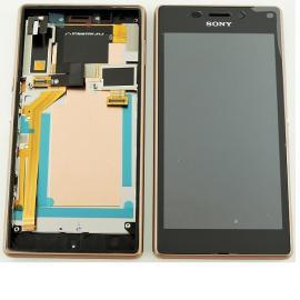 Repuesto Pantalla LCD + Tactil con Marco Original para Sony Xperia M2 Aqua D2403 D2406 - Cobre