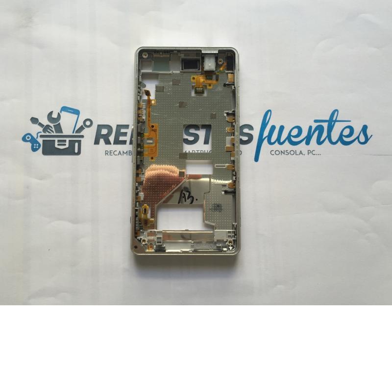 Marco Frontal con Tapas de SD, Micro USB y Tarjeta Sim para Sony Xperia Z1 Compact Z1C - Blanca / Desmontaje