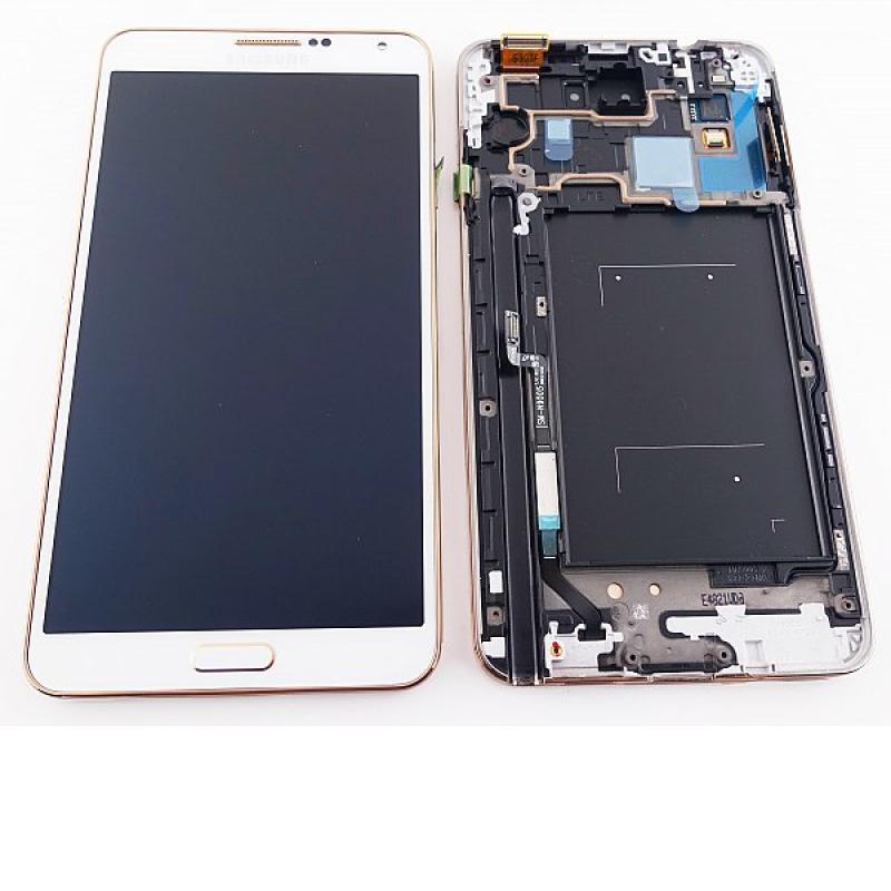 Pantalla Completa Original Samsung Note 3 N9005 Blanca con Marco Dorado
