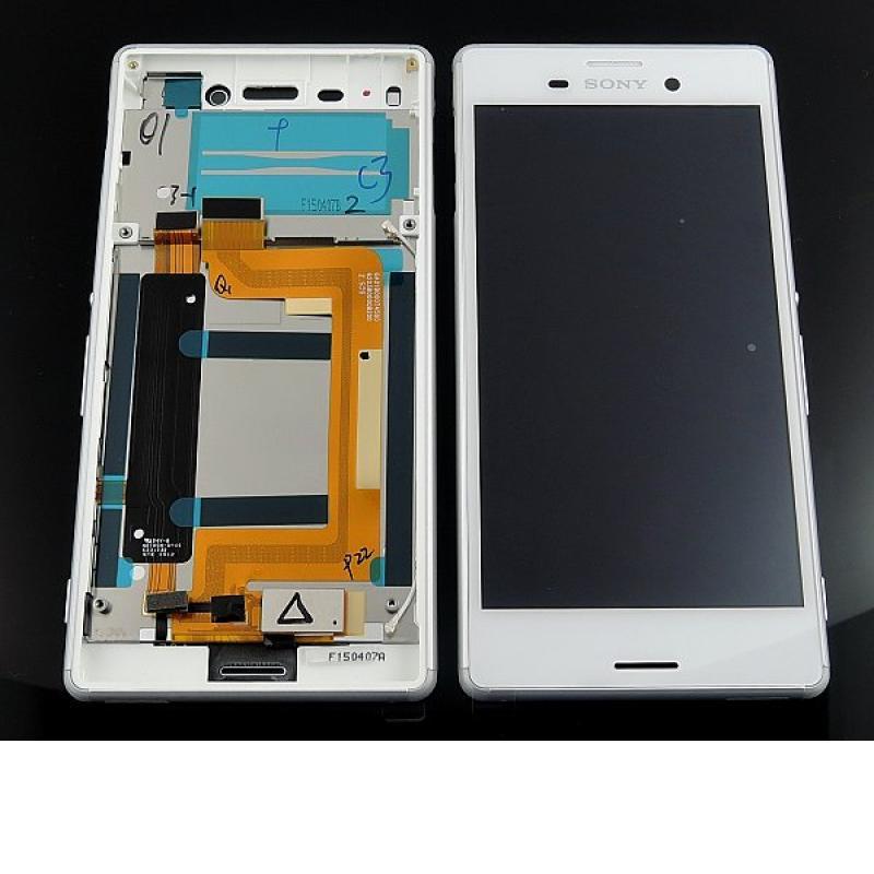 Pantalla LCD Display + Tactil con Marco Original para Sony Xperia M4 Aqua E2303 - Blanca