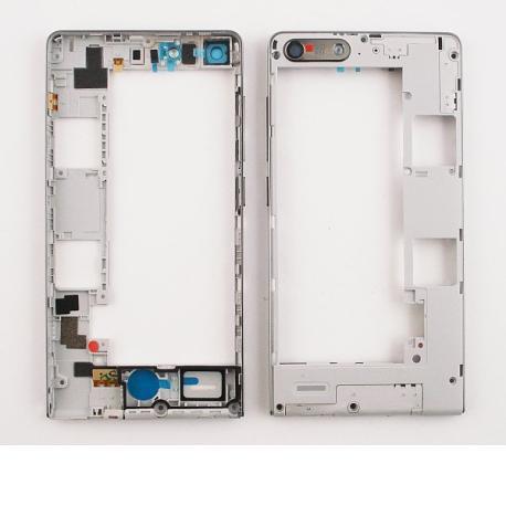 Carcasa Intermedia con Lente de Camara Original Huawei Ascend G6 3G - Blanca  / 1 SIM - Recuperada