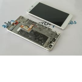 Repuesto Pantalla Tactil + LCD con Marco para Huawei Honor 6+ Plus - Blanco / Remanufacturado