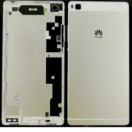 Tapa de la batería de con teclas laterales y lente de la cámara para Huawei P8 - Blanca / Oro