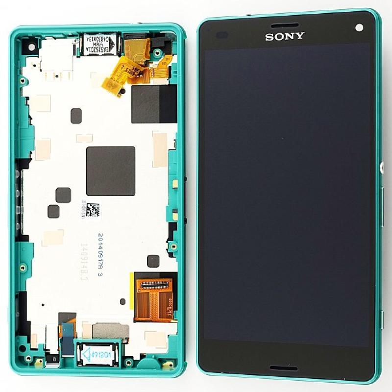 Pantalla LCD Display + Tactil con Marco Original Sony Xperia Z3 Compact Mini D5803, D5833 - Verde