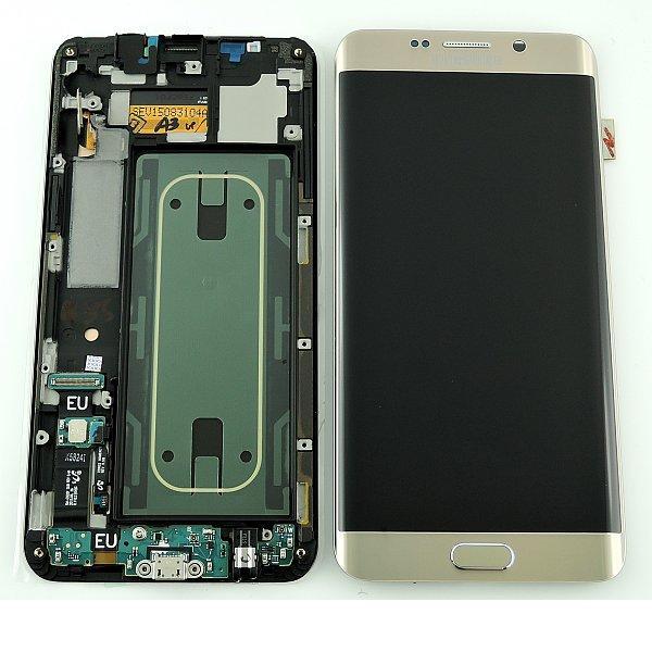 Pantalla LCD Display + Tactil y Flex Conector de Carga para Samsung Galaxy S6 Edge+ Plus SM-G928F - Oro