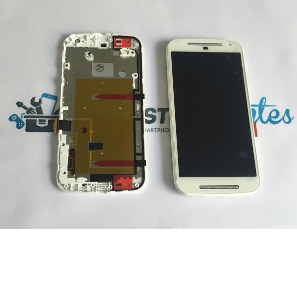 Pantalla Lcd + Tactil con Marco Motorola Moto G2 Xt1603 XT1068 XT1078 Blanca