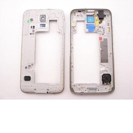 Carcasa Intermedia + Buzzer+Jack audio+Antena+Altavoz original Samsung Galaxy S5 I9600 G900F - Plata