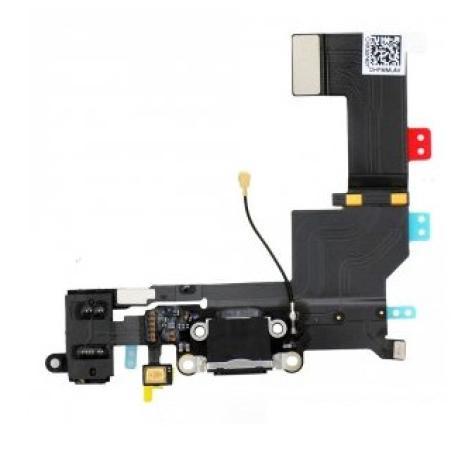 Flex Conector Carga, Microfono y Jack de Audio para iPhone 5s - Negro
