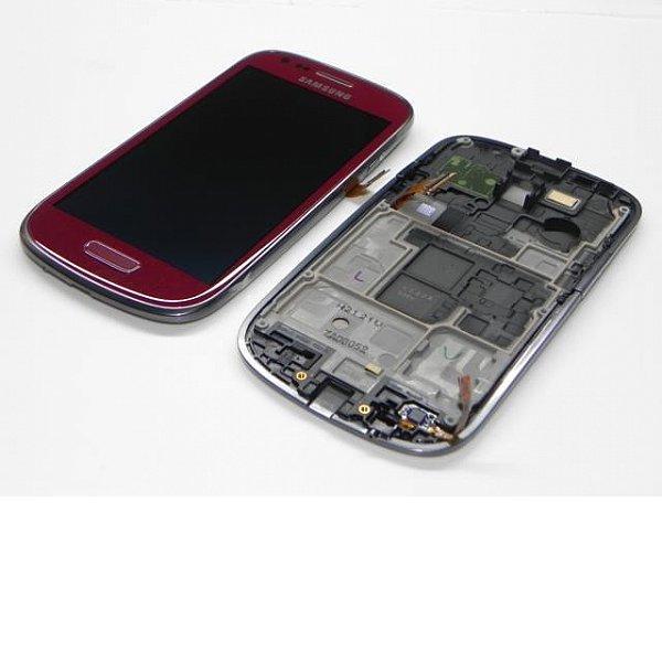Pantalla LCD + Tactil con Marco Original Samsung Galaxy S3 Mini i8190 Roja